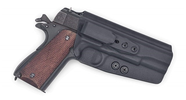 1911 (Non-Rail) Tuckable IWB KYDEX Holster Black / Right Hand (w/Full Sweat-img-0