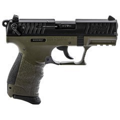 """WALTHER P22Q MILITARY .22LR 3.4"""" 2-TONE BLK SLIDE/"""