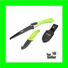 HME KNFSFB Saw and Knife 420HC Stainless Steel Black Oxide Gut Hook/Saw...
