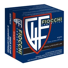Fiocchi Pistol and Revolver Extrema XTP .45 ACP