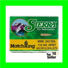 Sierra 1575C MatchKing 6mm .243 110 gr Hollow Point Boat Tail (HPBT) 500