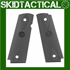 1911 Government Model Checkered OverMolded Rubber Grip Panels - Black