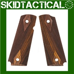 1911 Government Model Checkered Hardwood Grip Panels (Ambi-Cut) - Cocobolo