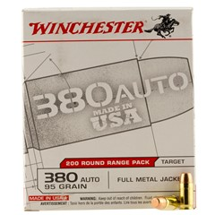 Winchester .380 Automatic Colt Pistol (ACP) 95 GR Full Metal Jacket