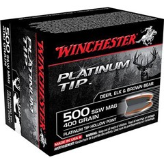 Winchester Supreme 500 Smith & Wesson 400 GR Platinum Tip Hollow Point