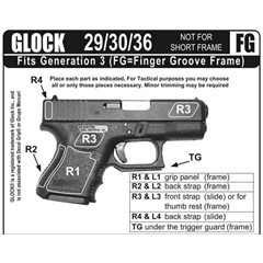 Decal Grip Rubber Grip, Fits Glock G29FGR