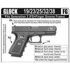 Decal Grip Rubber Grip, Fits Glock G19FGR